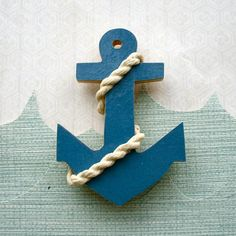 Wooden Nautical Anchor and Rope Brooch