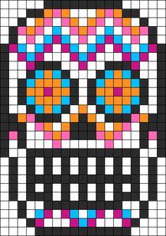 Sugar Skull Perler Bead Pattern / Bead Sprite