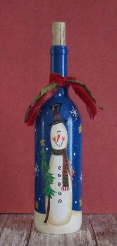 Hand Painted Christmas Winter Snowman Wine Bottle by maria beatriz