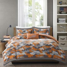 Boys Teen GRAY GREY ORANGE CAMO CAMOUFLAGE MILITARY Comforter SET ALL SIZES in Home & Garden, Bedding, Comforters & Sets | eBay
