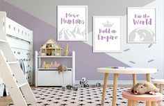 Items similar to Childrens Prints, playroom wall art set of 4 prints unicorn mermaid rainbow theme nursery decor, playroom decor ideas, unicorn lover gift on Etsy Woodland Nursery Decor, Nursery Wall Decor, Woodland Baby, Girl Nursery, Fox Nursery, Nursery Art, Nursery Ideas, Playroom Decor, Kids Decor