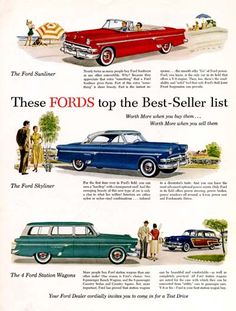 1954 Ford vintage ad. These Fords top the best seller list. Features the Sunliner Convertible, Skyliner Coupe, and Country Squire and Country Sedan Station Wagons.