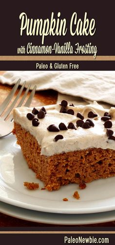 Easy and awesome moist cake with a rich pumpkin flavor. Includes a very simple light and creamy cinnamon-vanilla frosting. #paleo #glutenfree #pumpkin