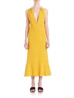 Proenza Schouler - Necklace-Collar Tie-Back Crepe Dress