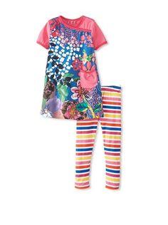 Me Too Kid's Long Dress & Legging Set (Blue)