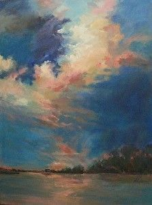 "Coral Clouds by Mary Maxam Acrylic ~ 40"" x 30"""