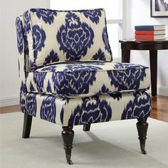 @Overstock - Add a stylish touch to your space with this blue and cream chair. An armless design and espresso finish highlights this chair.   http://www.overstock.com/Home-Garden/Cassidy-Indigo-Ikat-Armless-Chair/6708644/product.html?CID=214117 $233.99