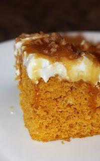 Pumpkin poke cake.  Easy pumpkin dessert.  I love fall treats.