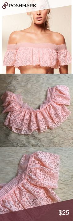 Victoria's secret pink lace off the shoulder bra Baby pink off the shoulder lace bralette. So feminine and sexy! This is a must have! Can be worn as a top/ lingerie. I have this in two colors in my own collection. Love love! Victoria's Secret Intimates & Sleepwear