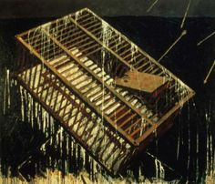 "Tom Nakashima ""Cage"" 1990; oil and gilding on canvas; 96"" X 115"""