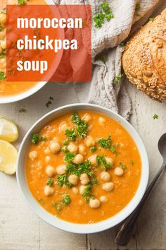 This chickpea soup is incredibly easy to make with just a handful of ingredients! Comforting, loaded with flavor, and hearty enough for a meal, this crave-worthy soup can be on the table in just over 30 minutes! This delicious soup is vegan, vegetarian, and gluten-free! #veganrecipes #vegansoup #chickpeas Vegetarian Appetizers, Vegan Dinner Recipes, Vegan Dinners, Vegetarian Recipes, Vegan Vegetarian, Vegan Soups, Vegan Food, Delicious Recipes, Healthy Recipes