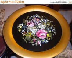 SUMMER SALE Large Vintage Tole Tray WITH by HitOrMissTreasures