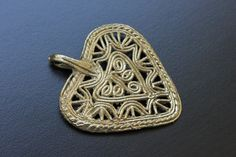 One Dokra Pendant  Ornate Asymmetrical Heart by Spectrakraft