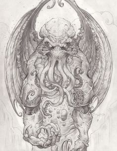 It´s Love, not reason, that is stronger than Death : Cthulhu - God Of Cosmic Horror by *CreepySeb Cthulhu Tattoo, Cthulhu Art, Lovecraft Cthulhu, Hp Lovecraft, Arte Horror, Horror Art, Lovecraftian Horror, Tatoo Art, Creature Design