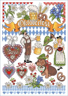 Oktoberfest Embroidery Sampler, Cross Stitch Embroidery, Counted Cross Stitch Patterns, Cross Stitch Designs, Hand Embroidery Patterns Flowers, Cross Stitch Numbers, Fun Party Themes, Christmas Cross, Le Point