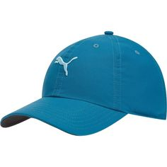 Puma Cat Women's Adjustable Golf Hat ($12) ❤ liked on Polyvore featuring accessories, hats, blue coral, cat hat, blue hat, curved brim hats, curved brim fitted hats and embroidered hats