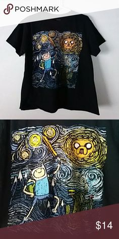 Adventure Time Van Gogh style cut off tee Cute adventure time tee, looks similar to Van Gogh's ''Starry Night''. Bottom of tee is cropped. Tops