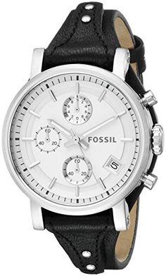 Damenuhren schwarz fossil  Fossil Damen-Armbanduhr Chronograph Quarz Edelstahl beschichtet ...