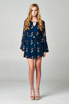 Navy Blue Print Dress