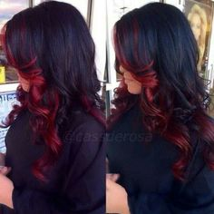 Inlove with this! Considering doing this! I already have two toned hair ( red on top, black on bottom) and wanna keep the same colors but still have a new look.