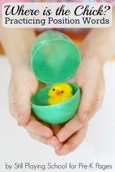 Where's the Chick Easter Position Word Game for Preschool. A Fun, Educational Game to Help Your Preschoolers or Kindergarten Kids Learn Prepositions with Plastic Easter Eggs!