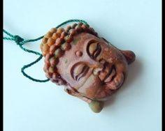 Buddha Head, Picasso, Jasper, Carving, Gemstones, Christmas Ornaments, Beads, Pendant, Holiday Decor