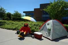 Coop camps out in front of Wickes Hall