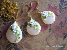 set of earrings and necklace made of polymer clay