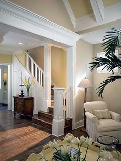 interior millwork, including door casings, column surrounds, baseboards, decorative beams and crown moulding