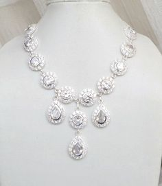 Bridal Necklace White Cubic Zirconia Sterling Silver Necklace - Cynthia N1 Wedding Jewelry. $160.00, via Etsy.
