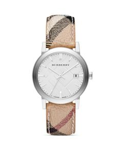 Burberry Haymarket Check Round Strap Round Watch, 38mm