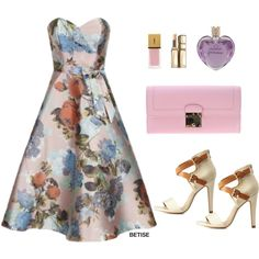 CHI CHI FLORAL DRESS ! by betty-sanga on Polyvore featuring moda, Chi Chi, Charlotte Russe, Marc Jacobs, Guerlain, Vera Wang and Yves Saint Laurent
