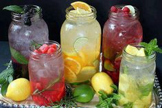 Easy to make fresh fruit drinks!  Fresh fruit, herbs if you like, & ice water