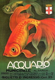 Italy - Aquarium and Municipal Park - Vintage Promotional Poster (Art Prints, Wood & Metal Signs, Canvas, Tote Bag, Towel) Canvas Art Prints, Canvas Wall Art, Framed Prints, Italian Painters, Red Fish, Travel And Tourism, Vintage Italian, Goldfish, Vintage Advertisements