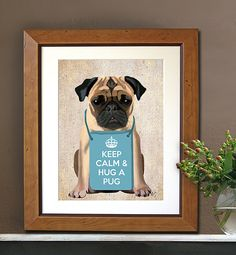 Hug a Pug Art Print Digital puggle Pug Illustration by LoopyLolly