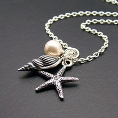 Beachcomber Charm Necklace with Starfish, Shell and Swarovski Pearl