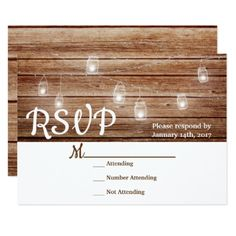 Rustic Country Modern Mason Jar Lights Wood RSVP Card - invitations custom unique diy personalize occasions
