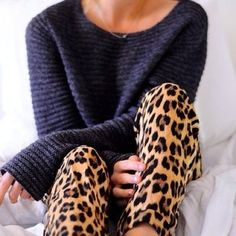 slouchy sweater + leopard skinny-leggings