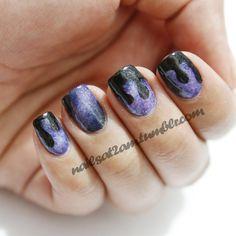 paint dripping nail art