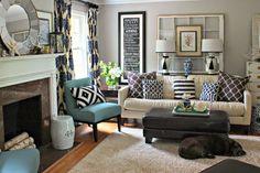 Living Room Wide Shot- DIY Ikat Drapes