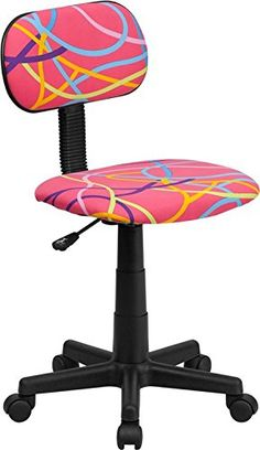 Flash Furniture MultiColored Swirl Printed Pink Computer Chair BTOLYGG >>> You can get additional details at the image link.Note:It is affiliate link to Amazon.