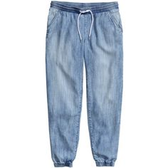 H&M Denim joggers in lyocell (257.630 IDR) ❤ liked on Polyvore featuring pants, light denim blue and h&m