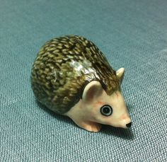 Miniature Ceramic Hedgehog Animal Cute Little Tiny Small Brown Pink Figurine Statue Decoration Collectible Hand Painted on Etsy, $8.00