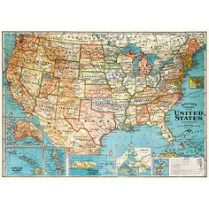 A vintage map of the United States printed on premium Italian acid free paper…
