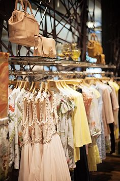 Racks of clothing.