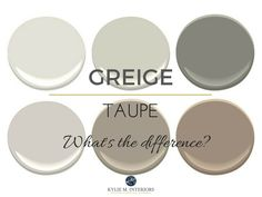 The difference between greige and taupe paint colours, mixes of beige and gray. Undertones and more! Kylie M INteriors E-design and online color consulting. Taupe Paint Colors, Paint Color Schemes, Best Interior Paint, Interior Paint Colors, Interior Painting, Interior Design, Painting Doors, Painting Tips, Painting Techniques
