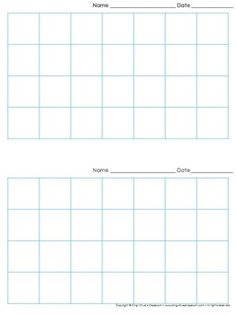 Graph Paper: 2 Per Page Grid   1 Inch Squares   7x4 Boxes   King Virtue  Free Printable Grid Paper For Math