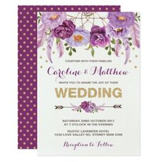 #Watercolor Boho Purple Floral Wedding Invitation - #weddinginvitations #wedding #invitations #party #card #cards #invitation #floral