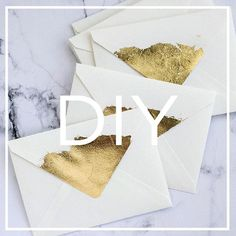 """Only instructions are in this text!! """"Gold leaf envelope flaps are a great way to make your wedding guests have that WOW moment from the second the mail arrives. I used gold leaf gilding sheets, gilding glue, and some finisher (to make sure only a minimal amount flakes off). I used 1 sheet per 2 - 3 enve envelopes."""""""