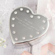 Engraved Diamanté Heart-Shaped Jewellery Box | GettingPersonal.co.uk